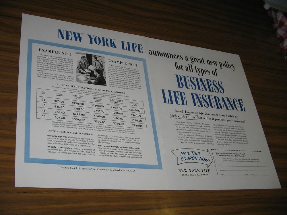 1954 Print Ad New York Life Insurance Business New York Ny