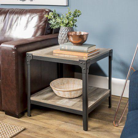 Manor Park Rustic Wood End Side Table Set Of 2 Grey Wash Black