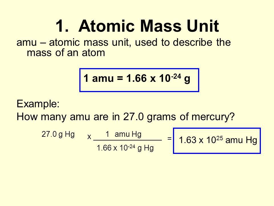 What is 1 amu in grams