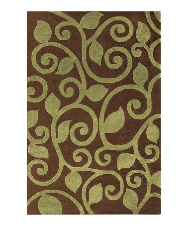 Take a look at this Brown & Green Fogli Wool Rug by The Rug Market on #zulily today!
