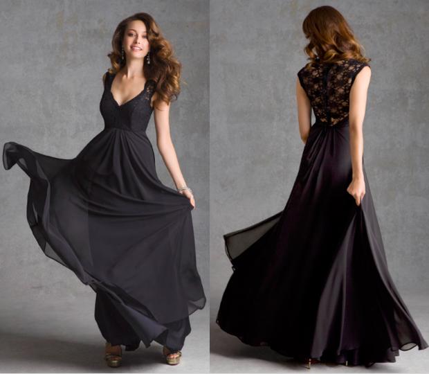 Long Lace And Chiffon Black Morilee Bridesmaid Dress With Cap Sleeves And Black Chiffon Bridesmaid Dresses Black Bridesmaid Dresses Black Lace Bridesmaid Dress