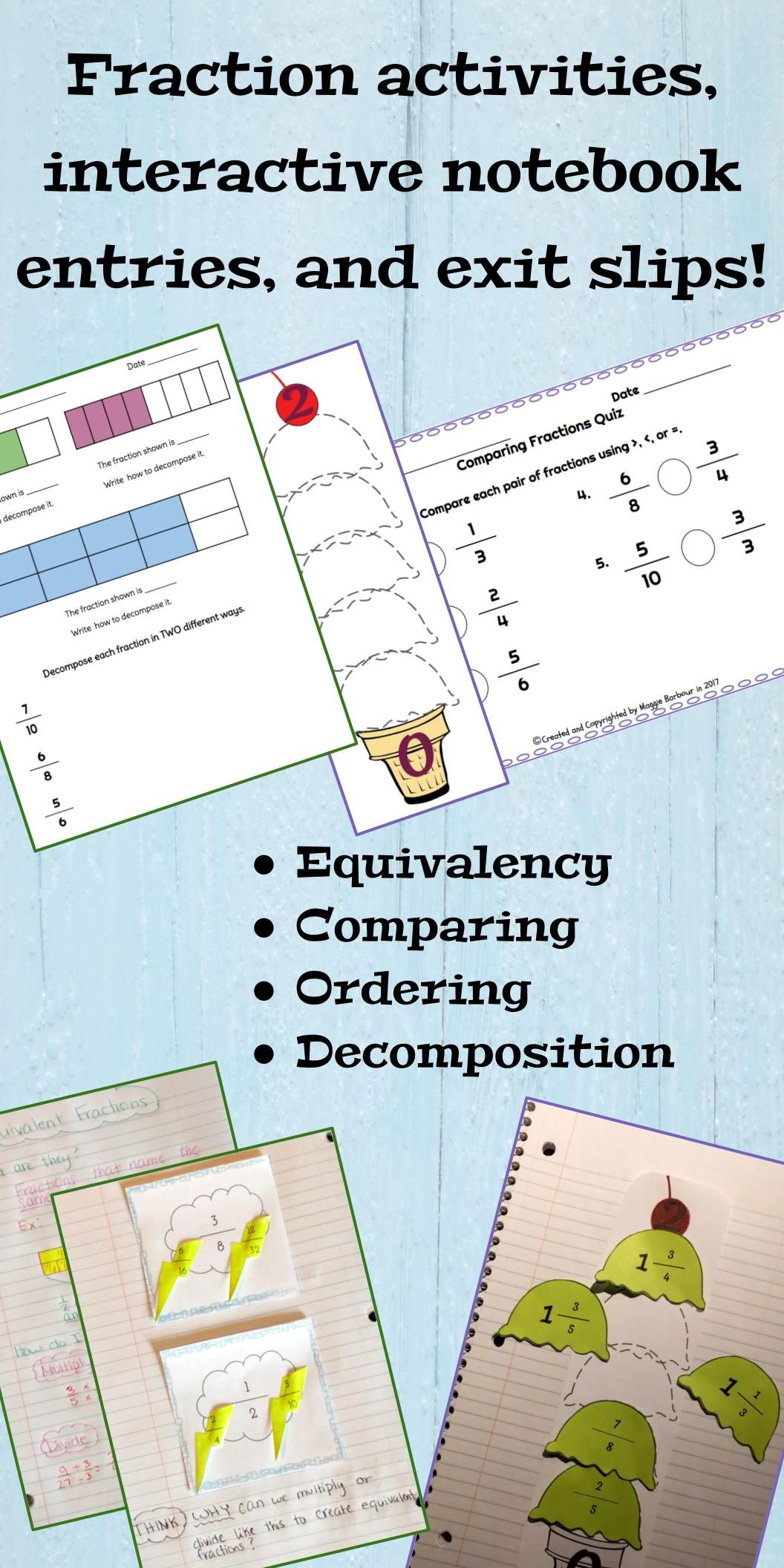 Compare, Order, Decompose, and Equivalent Fractions | Pinterest ...