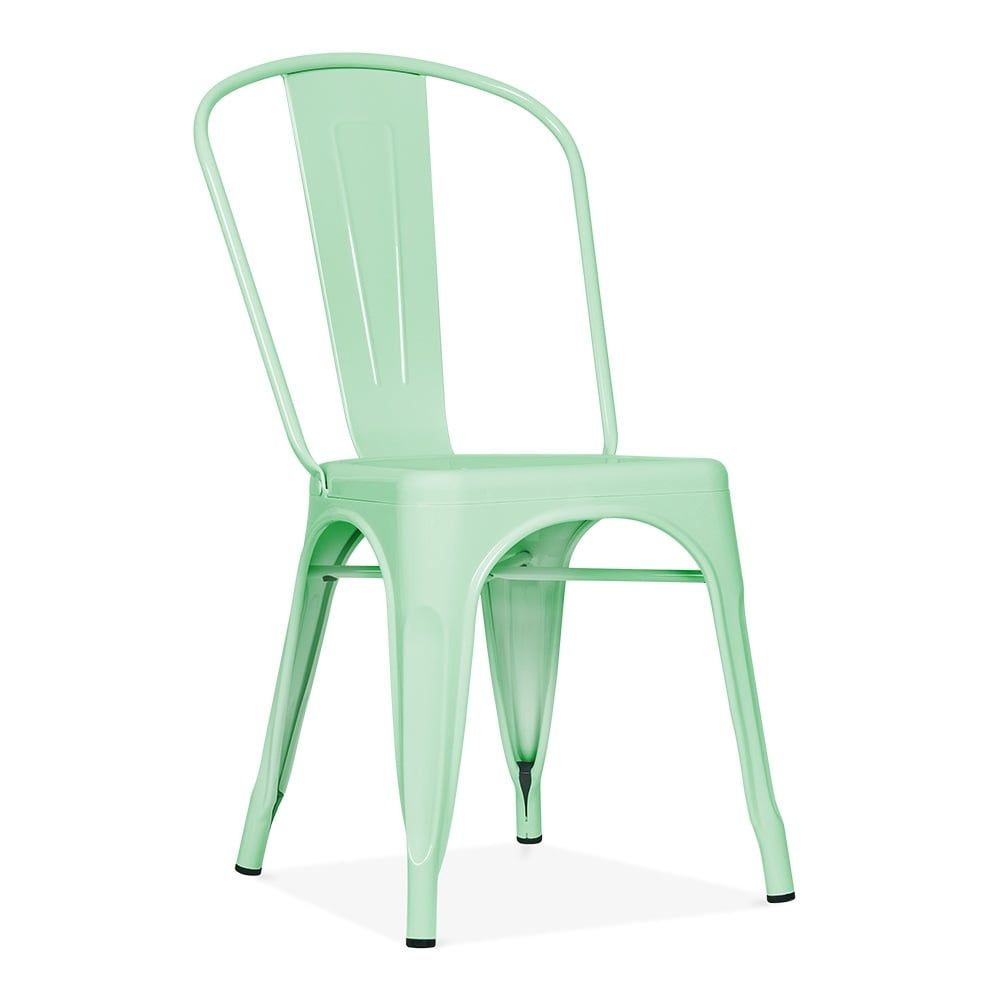Xavier Pauchard Tolix Style Metal Side Chair Peppermint Chaise