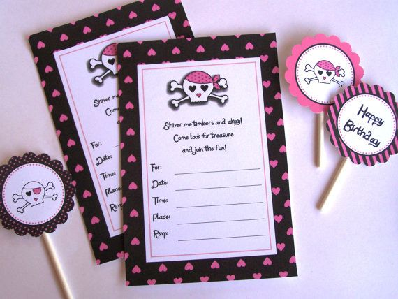Pink Pirate Party  Printable Party Invitations by TheBirthdayHouse, $5.00