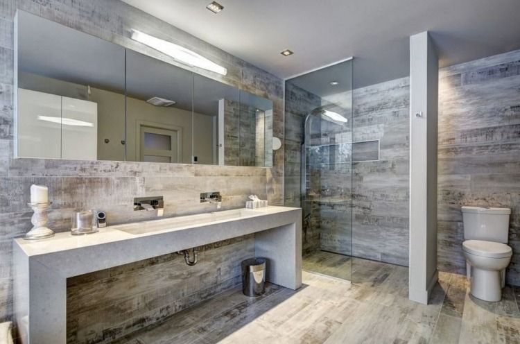 carrelage sol salle de bain imitation bois, paroi de douche en verre - faience ardoise salle de bain