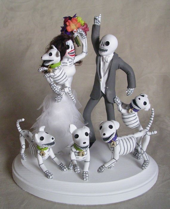 Clay Lindo Day Of The Dead Wedding Cake Toppers