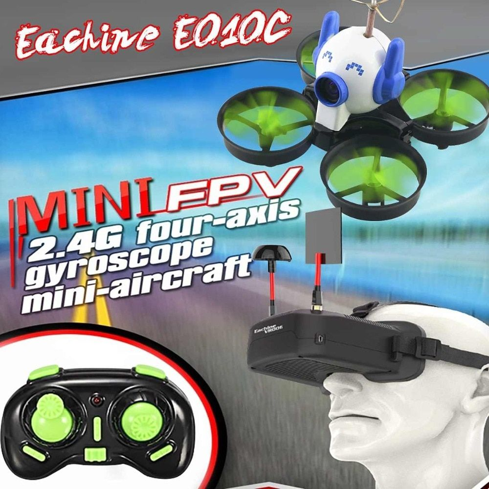 Eachine E010c Micro Fpv Racing Quadcopter With 800tvl 40ch 25mw Cmos Camera 45c Battery W Mount Cap Vs Jjrc H36 E010 Rc Dron Fpv Racing Rc Drone Rc Helicopter