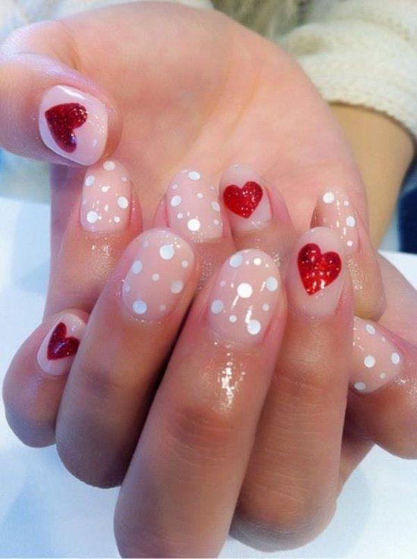 70+ Heart Nail Designs   Diseños de uñas