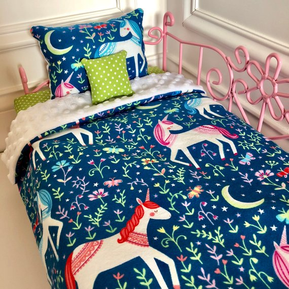 Unicorns Doll Bedding Made to Fit American Girl Dolls 18 Doll Bedding Set
