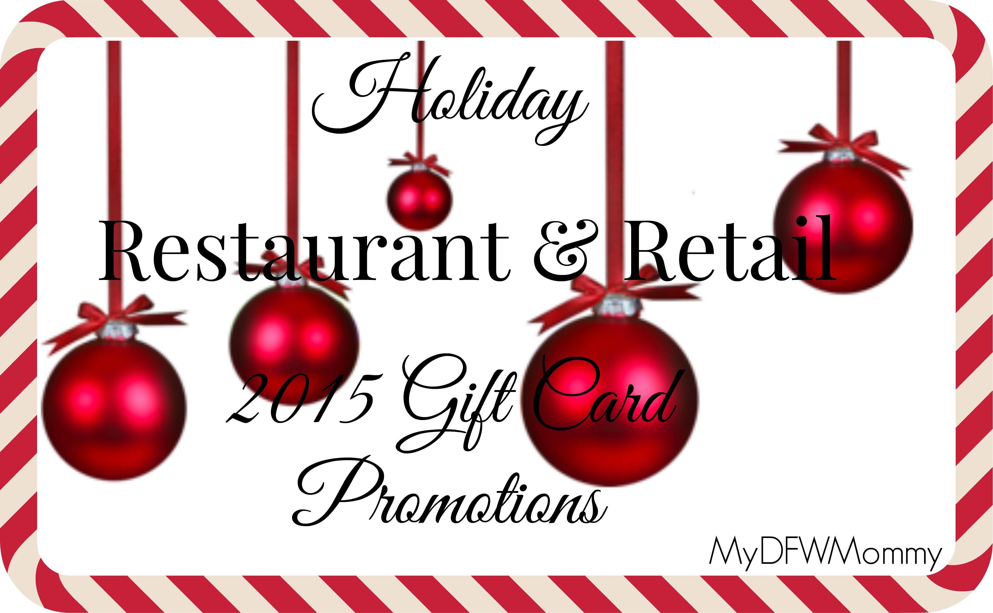 Restaurant & Retail Holiday Gift Card Deals | Gift card deals ...