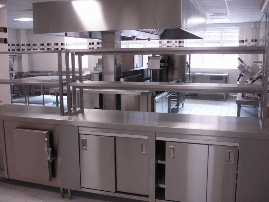 Kitchen Cool Chromed Commercial Kitchen Table Design With Shelving Storage And Slider Cabinets