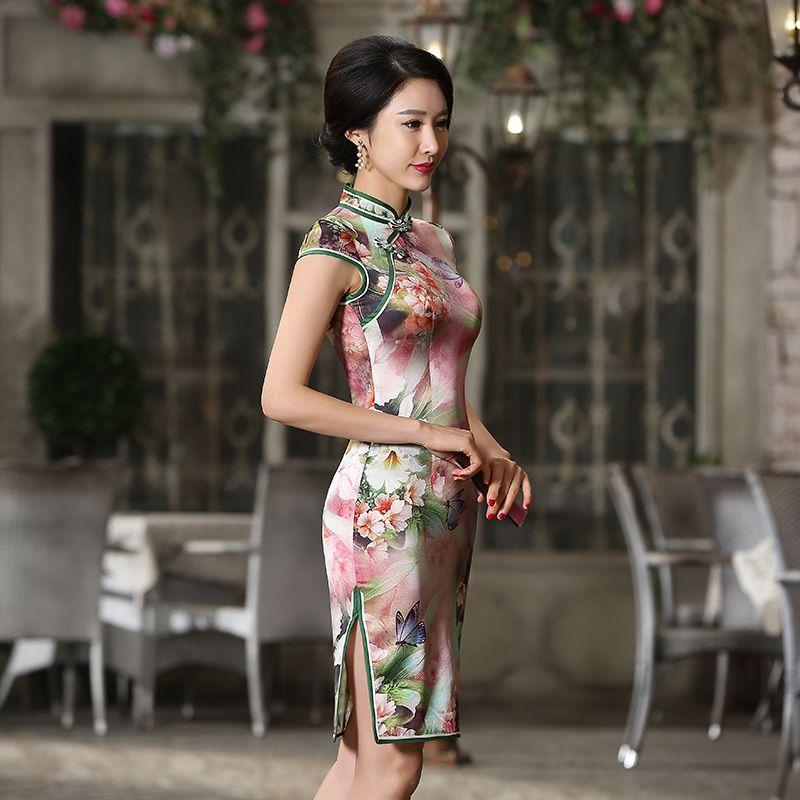 Shanghai Story Chinese Style Women Vintage 100% Silk Qipao Dress ...
