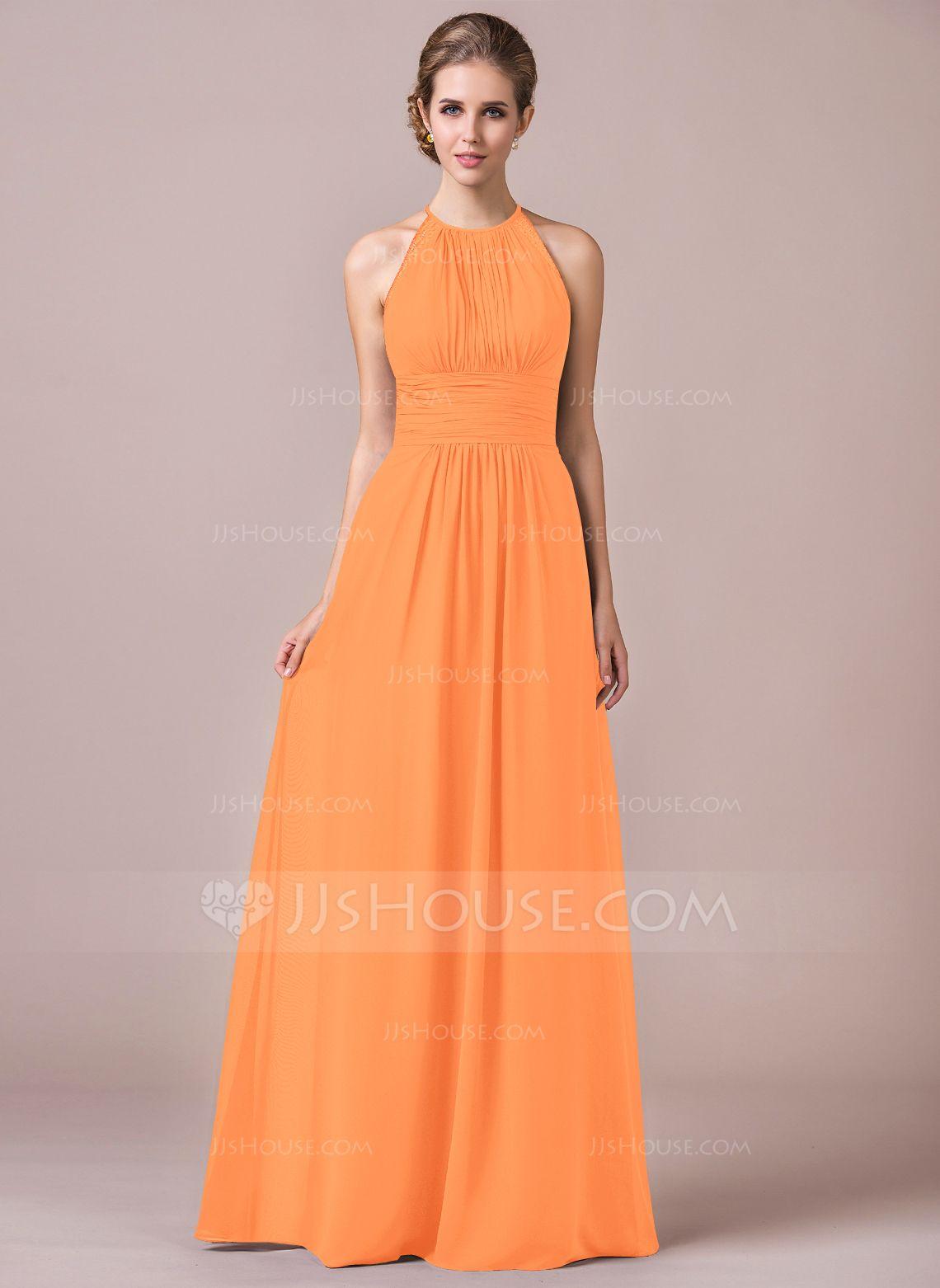 Alineprincess halter floorlength chiffon bridesmaid dress with