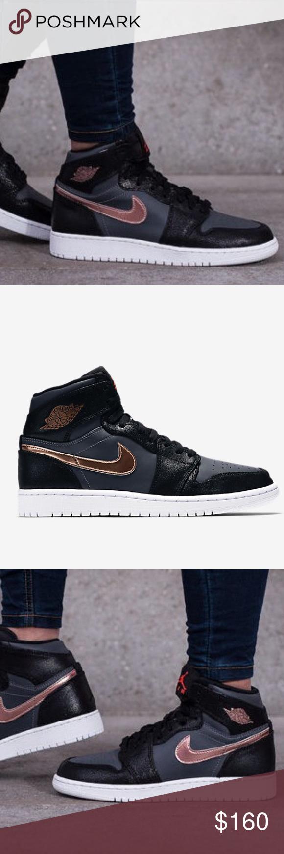 Nike Air Jordan one retro high black shoes NWT (With