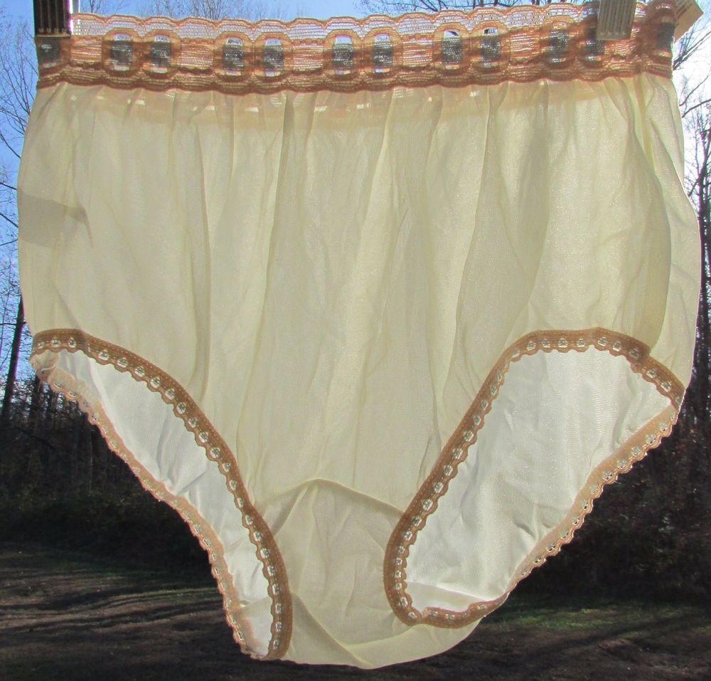 8f701968b5eb NOS Vintage 60's PAM Undies Lingerie Sissy Sheer Beige NYLON Briefs Sz 6  Panties #Pam