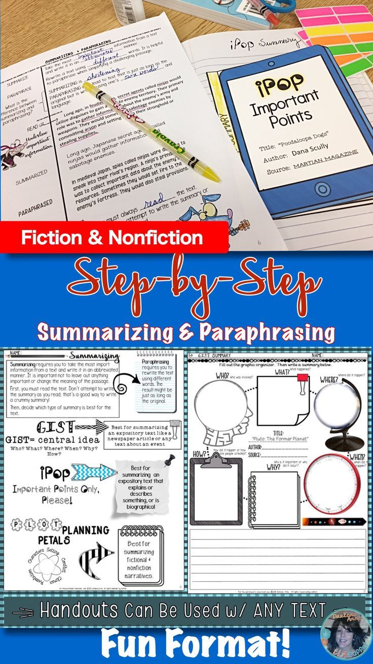 Summarizing Paraphrasing Powerpoint Note Worksheet Test Distance Learning Teaching High School Literature Upper Elementary Ela Practice And Quoting