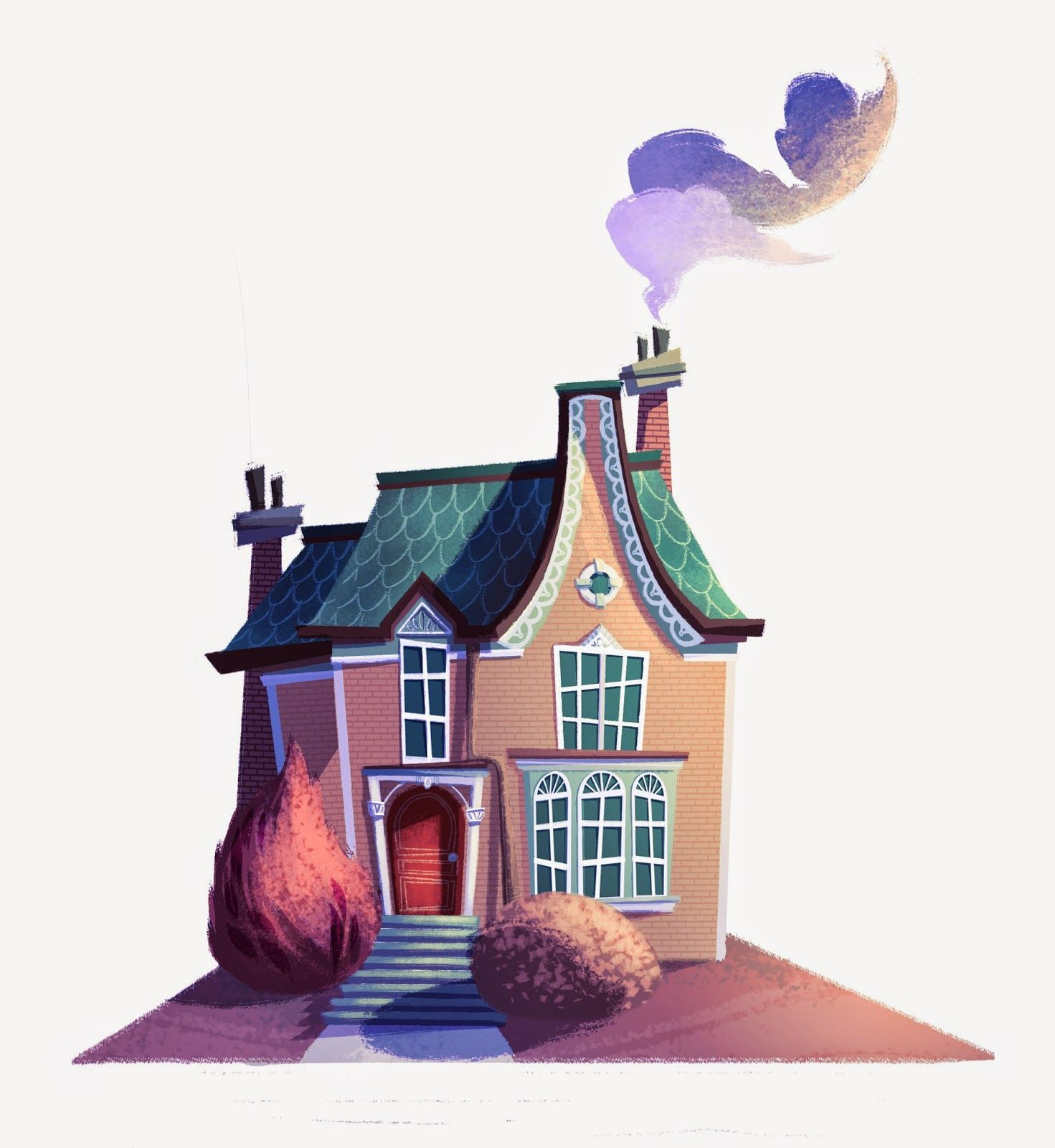 Днем, рисунок веселый дом