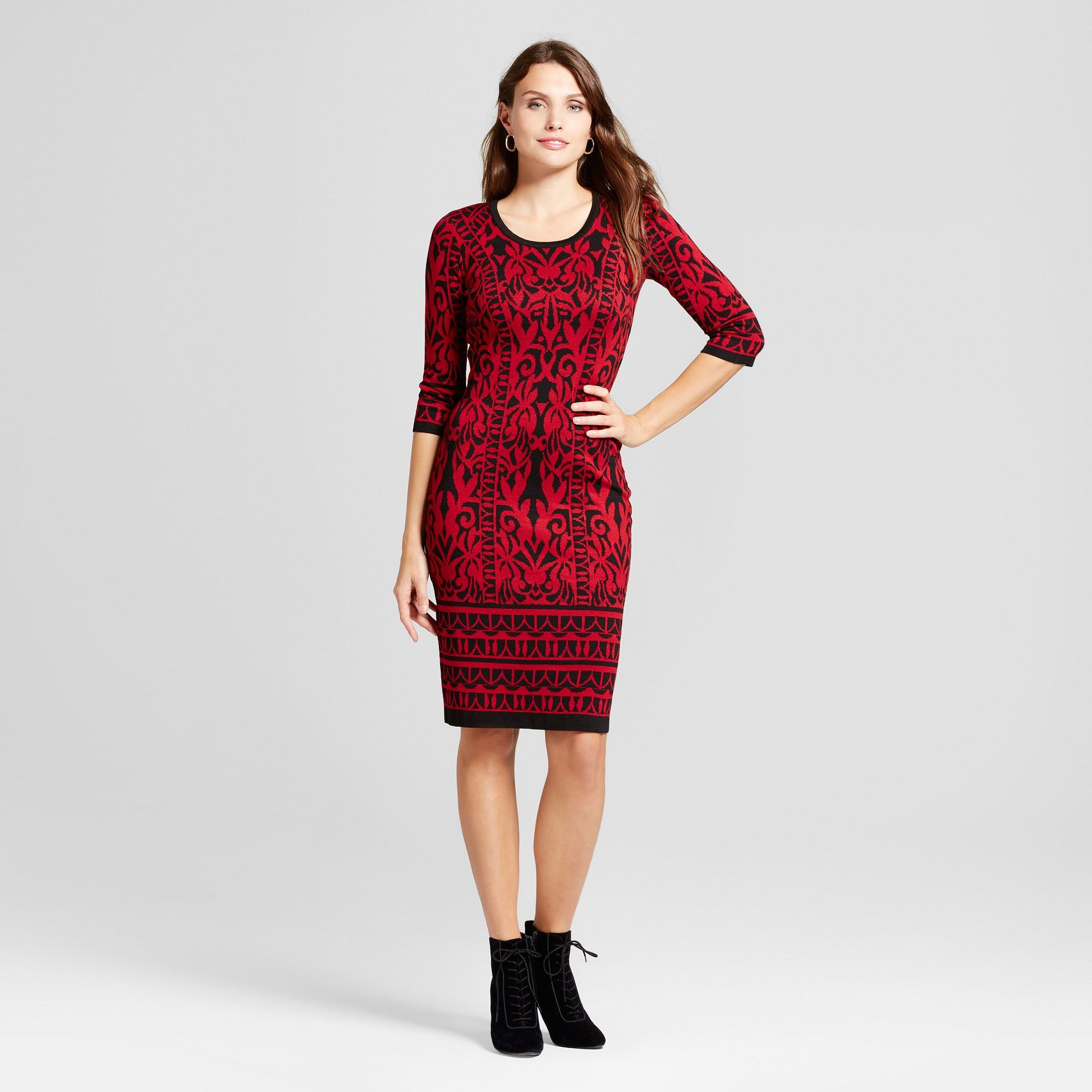 b23e7b5e06 Women s Scroll Printed Sheath Sweater Dress - Melonie T Red Black S ...