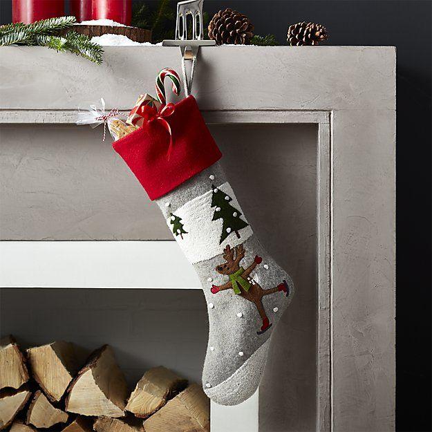 Skating Reindeer Stocking Crate And Barrel Christmas Decor Inspiration Christmas Stockings Indoor Christmas Decorations