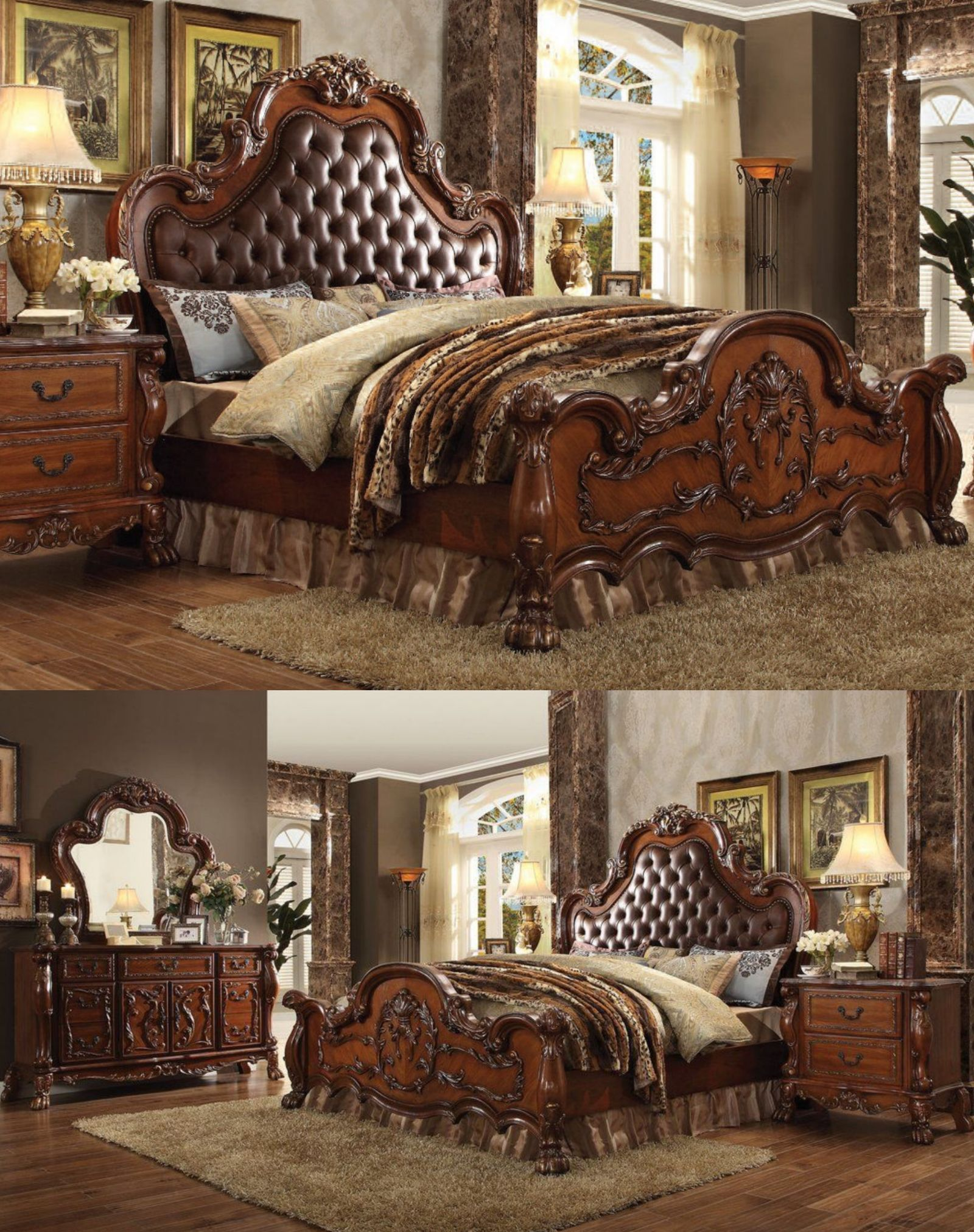 Antique cherry oak tufted headboard bedroom furniture set queen size