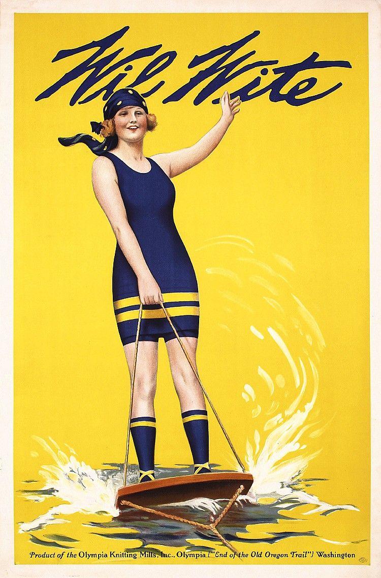 Original 1930s American Swim Suit Water Ski Poster by