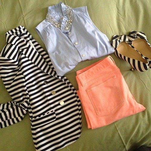 Southern Charm. Pastel coral pants with light chambray shirt and a striped blazer