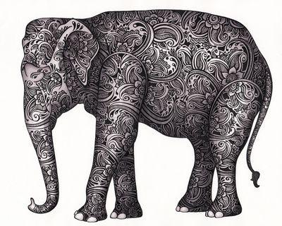 Decorative Elephant Art Print Illustration For The
