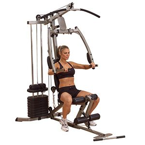 The BFMG20 allows you to perform dozens of exercises with two pulleys. It comes with a lat pull down bar. The padded press arms follow a natural arc which is designed to simulate a free weight system. The cables are aircraft quality and the pulleys are made from fiberglass with a ballbearing movement to give you a smooth motion.