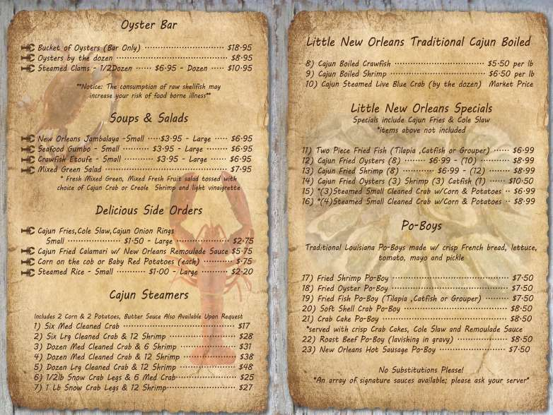 Little New Orleans Kitchen Oyster Bar South Menu Oyster Bar Menu Oyster Bar Oyster Bar Restaurant