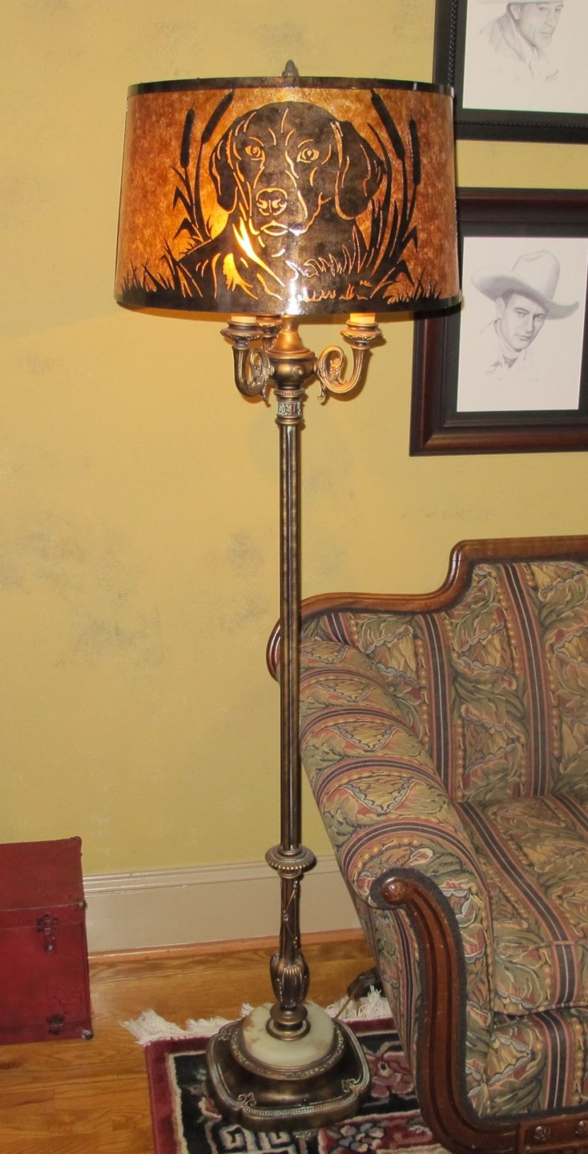 6 Way Lamp W Custom Mica Shade Jim S Beloved Gracie Dog Floor Lamp Antique Lighting Shades