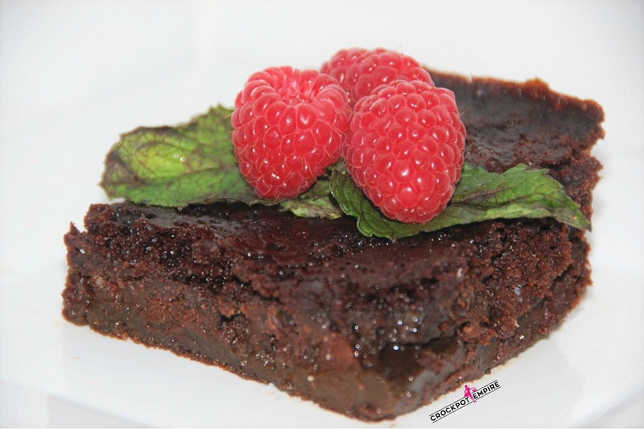The most decadent chocolate molten lava cake made in the crockpot!