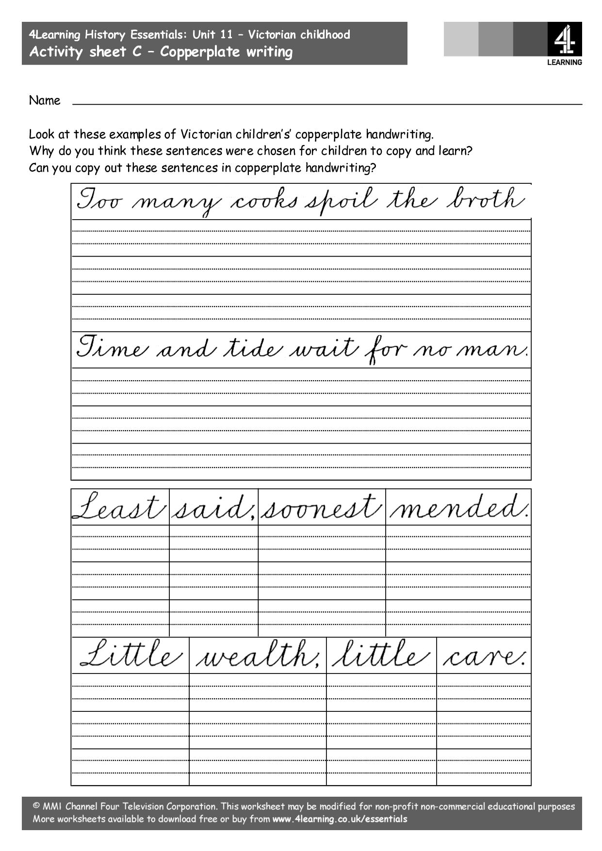 Copperplate worksheet script related