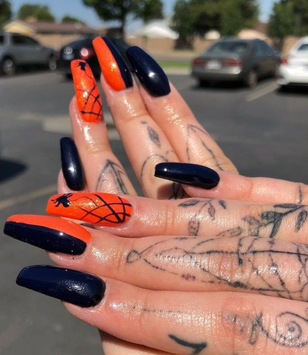 Orange And Black Spider Web Nails Pic By Iambeeboriboun Halloween Nails Black Halloween Nails Nails