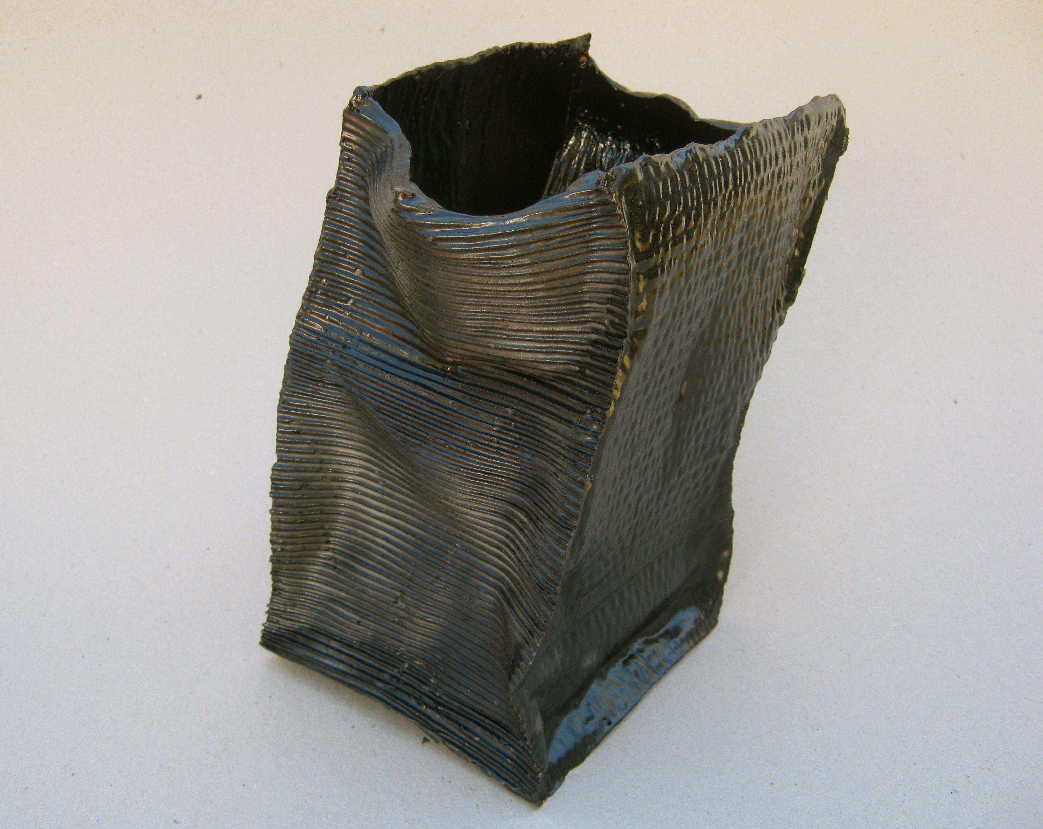 Black Vase, paperclay.