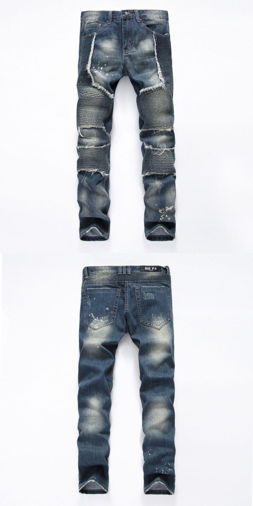 European American Style fashion brand cotton men jeans luxury Men s casual  denim trousers zipper Slim blue ba9d4a3feb92