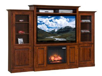Entertainment Center W Fireplace Side Towers Solid Wood Furniture Wood Furniture Porch Wood