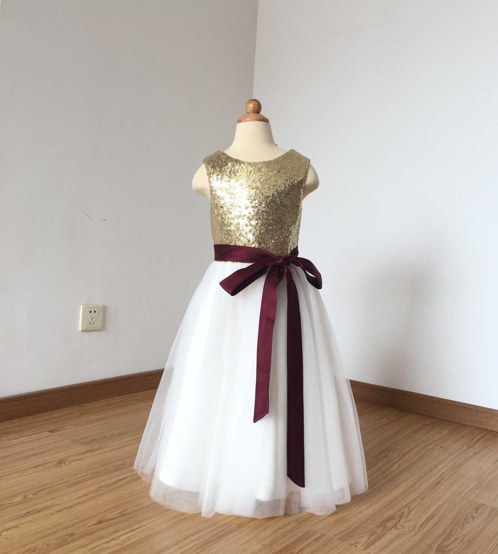 Floorlength light gold sequin ivory tulle flower girl dress
