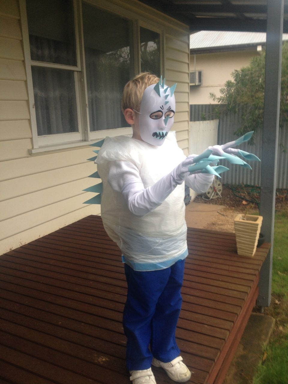 Frozen Marshmallow Man costume for kids. Made with blue foam, a ...