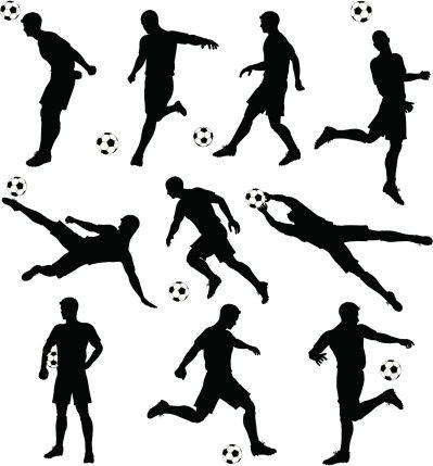 Soccer Silhouettes Vector Art Illustration Soccer Silhouette Illustration Soccer Art