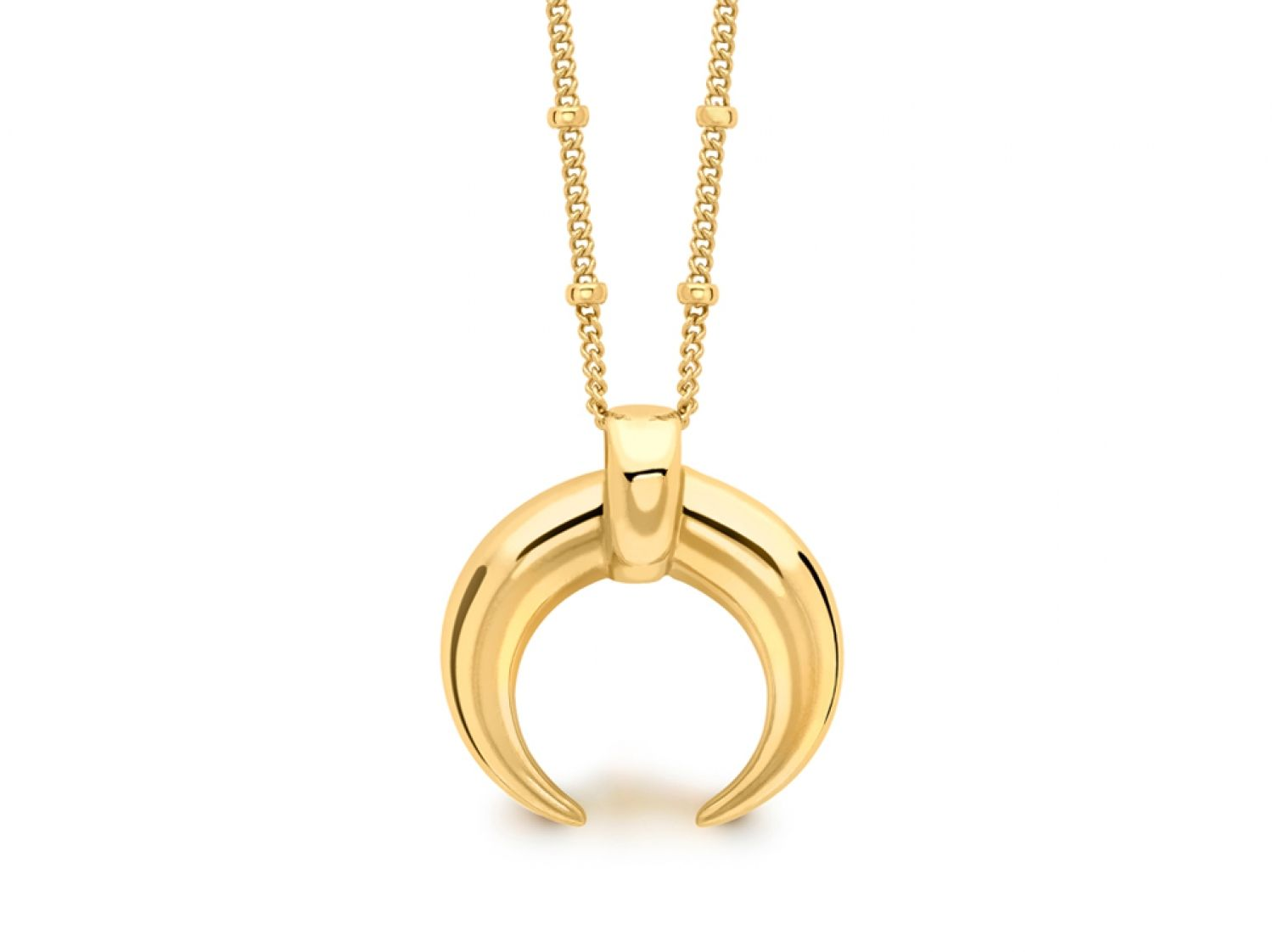 Missoma the large horn pendant necklace in 18ct gold vermeil missoma the large horn pendant necklace in 18ct gold vermeil features a long beaded chai aloadofball Gallery