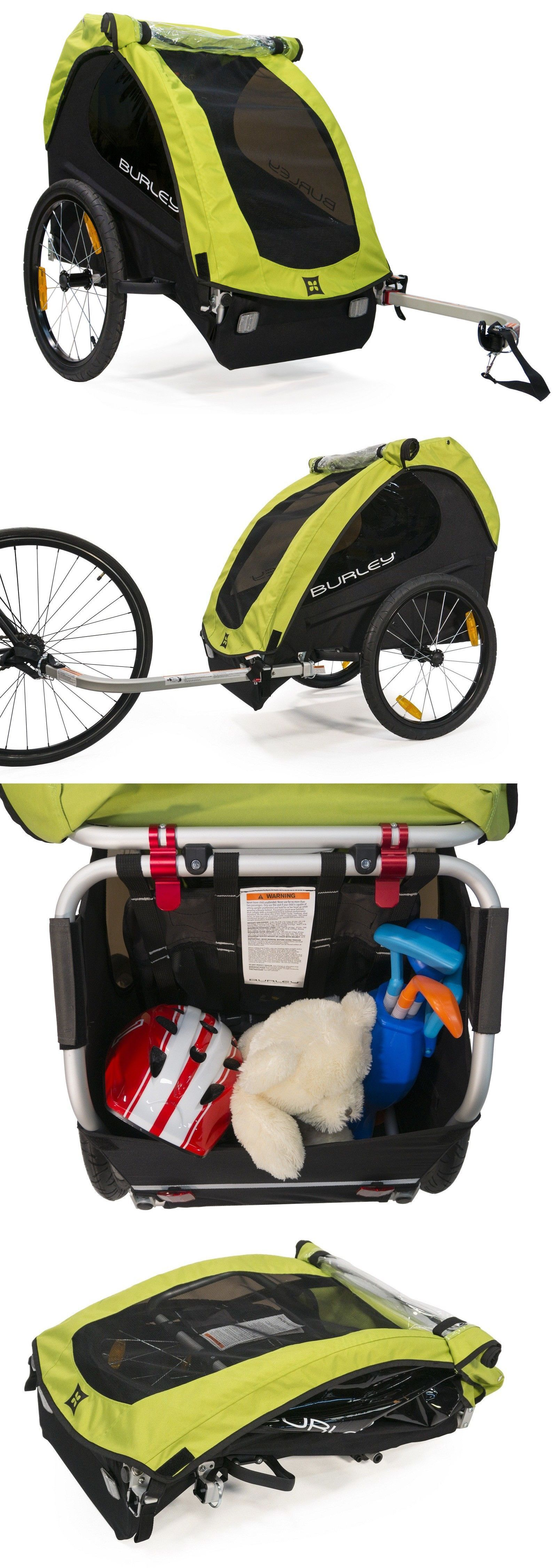 Burley Minnow Compact Fold Bike Bicycle Trailer For Single Kid Child Green NEW
