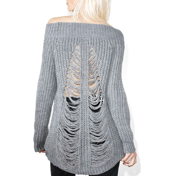 Ashen Shredded Sweater ($40) ❤ liked on Polyvore featuring tops ...