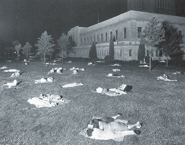 Sleeping on Capitol Lawn Nebraska, Historical society