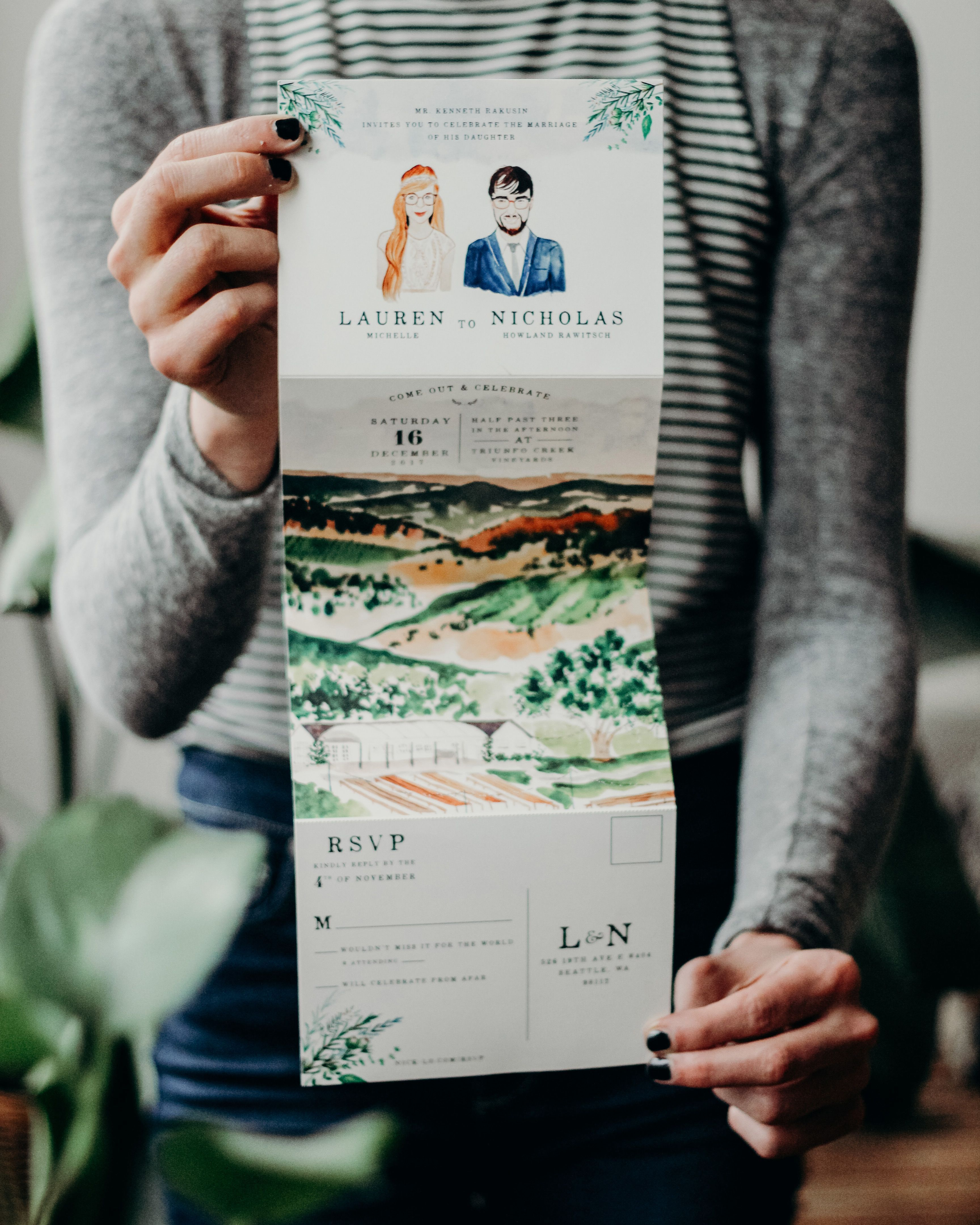 illustrated fold out watercolor wedding invitations by wide eyes
