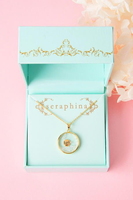 The Gold Necklace Features A Clear Gl Pendant With Faith Inscribed Charm And Sparkly White Stones Inside