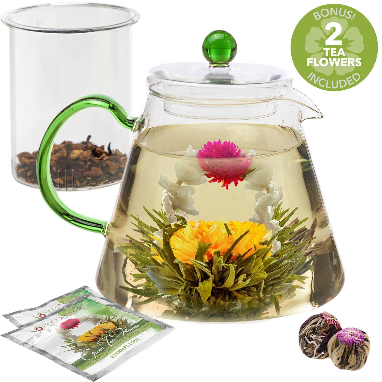 Blooming oasis teapot with loose leaf tea infuser flower