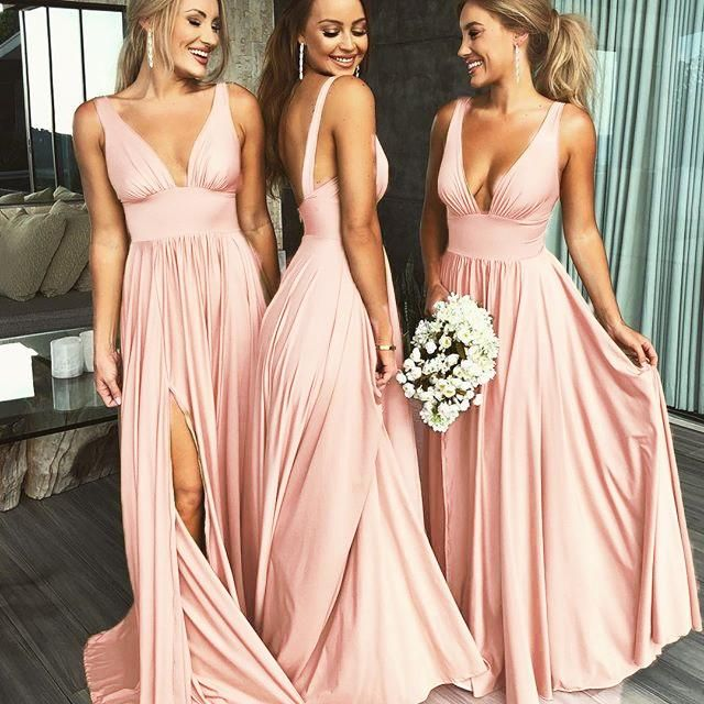 Summer V Neck Sexy Bridesmaid Dress Long  Maid of Honor Women Wedding Evening Gown LP889 3
