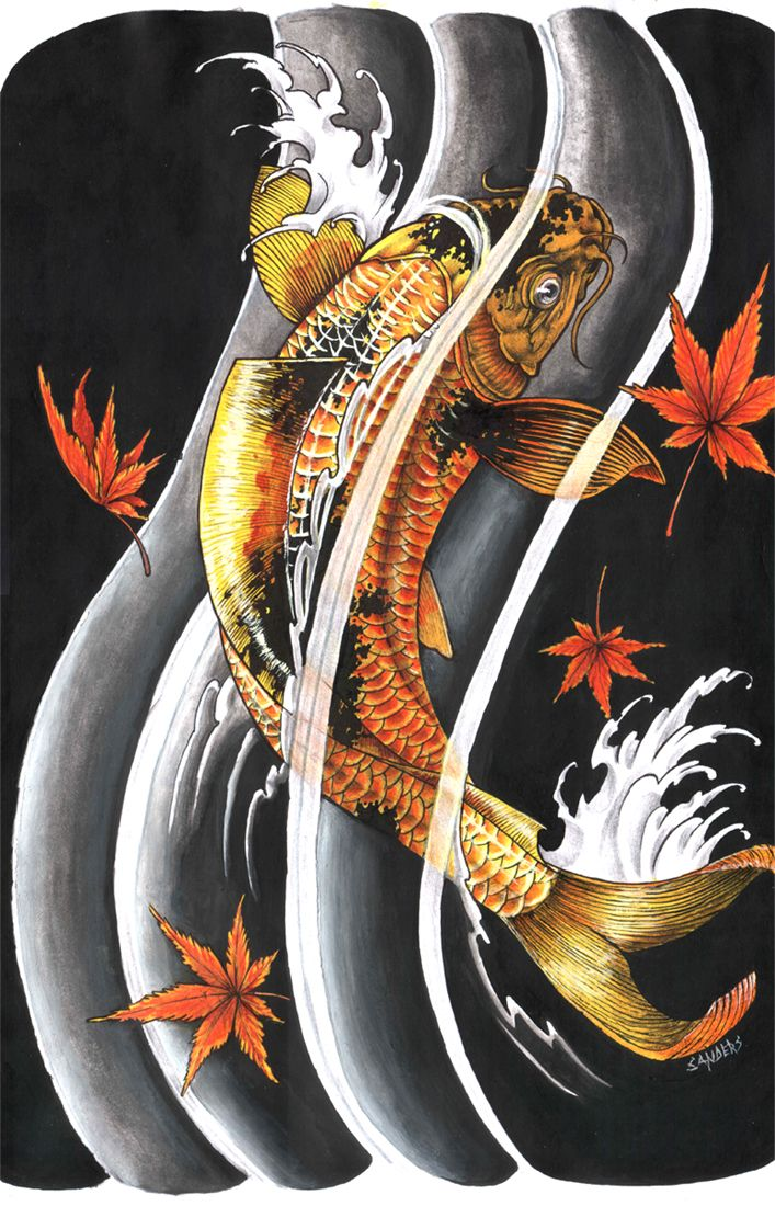 65 Japanese Koi Fish Tattoo Designs Meanings: Koi With Strength Kanji Created In Photoshop