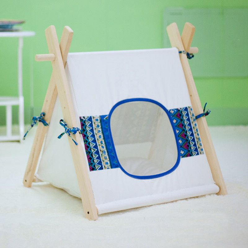 Tent for Pet Kennel Dog Cat Teepee Wood Gauze Nest Pets Playhouse Picth Style Small Size 1  sc 1 st  Pinterest & Peepinu0027 Tom Tent. Cute and unique tents/teepees pet beds for dogs ...