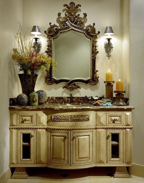 Lavatory Vanity Old World With Tuscan / Mediterranean Touches.